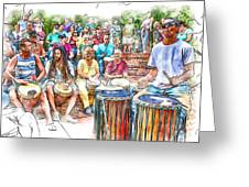 Drum Circle Of Friends Greeting Card