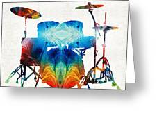 Drum Set Art - Color Fusion Drums - By Sharon Cummings Greeting Card