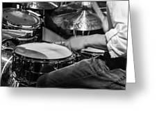 Drummer At Work Greeting Card