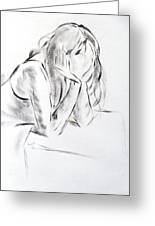 Dry Brush Painting Of A Young Womans Face Greeting Card