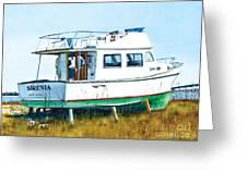 Dry Docked Cabin Cruiser Greeting Card