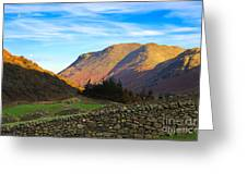 Dry Stone Walls In Patterdale In The Lake District Greeting Card