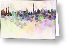 Dubai Skyline In Watercolour Background Greeting Card
