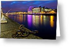 Dublin Docklands At Night / Dublin Greeting Card by Barry O Carroll