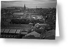 Dublin Ireland Cityscape Bw Greeting Card
