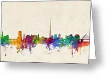 Dublin Ireland Skyline Greeting Card by Michael Tompsett