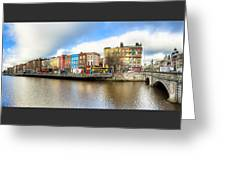 Dublin River Liffey Panorama Greeting Card by Mark E Tisdale