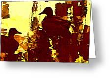 Ducks On Red Lake 3 Greeting Card