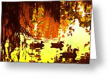 Ducks On Red Lake Greeting Card