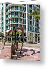 Duenos Do Las Estrellas Sculpture - Downtown - Miami Greeting Card by Ian Monk