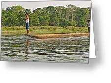 Dugout Canoe In The Rapti River In Chitin National Park-nepal Greeting Card