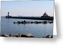 Duluth Harbor Lighthouses  Greeting Card