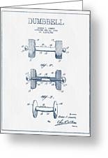 Dumbbell Patent Drawing From 1935  -  Blue Ink Greeting Card
