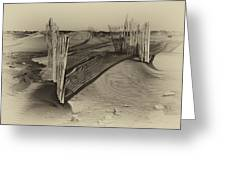 Dune Erosion Fence Outer Banks Nc Antique Plate Img_3761 Greeting Card
