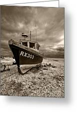Dungeness Boat Under Stormy Skies Greeting Card