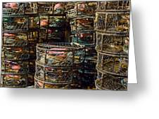 Dungeness Crab Pots Waiting On A San Francisco Dock Greeting Card