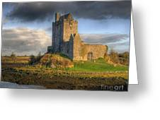Dunguaire Castle With Dramatic Sky Kinvara Galway Ireland Greeting Card