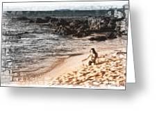 Duotone Beach Scene Greeting Card