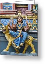 Durga Statue On Hindu Gopuram Greeting Card
