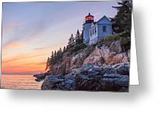 Dusk At Bass Harbor Light Greeting Card