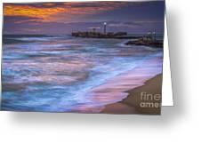 Dusk At La Caleta Beach Cadiz Spain Greeting Card