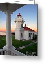Dusk At Mukilteo Lighhouse Greeting Card