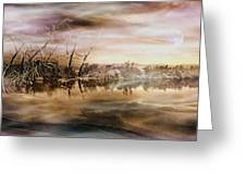 Dusk At The Pond Greeting Card
