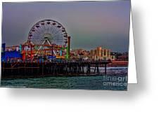 Dusk At The Santa Monica Pier Greeting Card