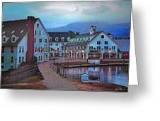 Dusk Before Snow At Town Square Greeting Card