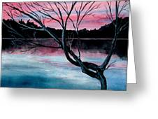 Dusk Lake Arrowhead Maine  Greeting Card