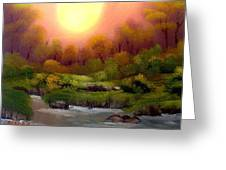 Dusk On The Riverbank Greeting Card