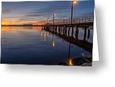 Dusk Settles On Del Norte Pier Greeting Card