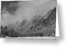 Dusted Flatirons Low Clouds Boulder Colorado Bw Greeting Card