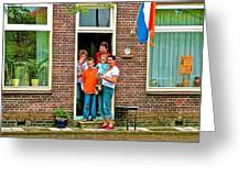 Dutch Family On Orange Day In Enkhuizen-netherlands Greeting Card