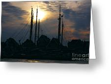 Dutch Harbour By Night Greeting Card
