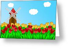 Dutch Windmill In Tulips Field Farm Illustration Greeting Card