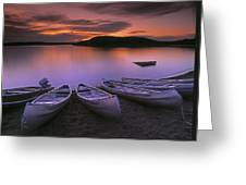 D.wiggett Canoes On Shore, Pink And Greeting Card by First Light