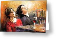 Dylan Moran And Tamsin Greig In Black Books Greeting Card