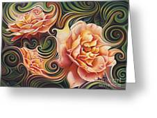 Dynamic Floral V  Roses Greeting Card
