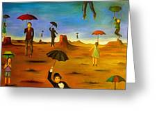 Spirit Of The Flying Umbrellas Edit 4 Greeting Card
