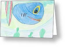 E' S Blue Fish Greeting Card
