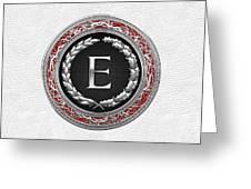 E - Silver Vintage Monogram On White Leather Greeting Card