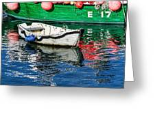 E17 Reflections - Lyme Regis Harbour Greeting Card