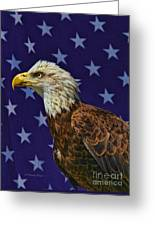 Eagle In The Starz Greeting Card