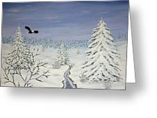Eagle On Winter Lanscape Greeting Card