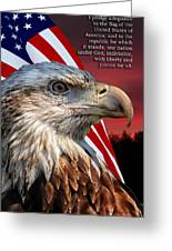 Eagle With Pledge Allegiance Greeting Card