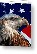 Eagle With Us American Flag Greeting Card