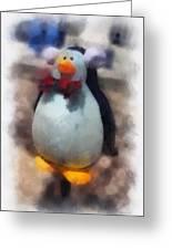 Ear Muff Penguin Photo Art Greeting Card