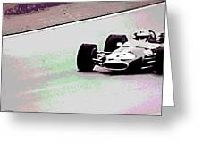 Early 60's Fun In A Formula 1 Race Greeting Card