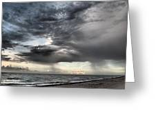Early Am Storm At The Beach Greeting Card